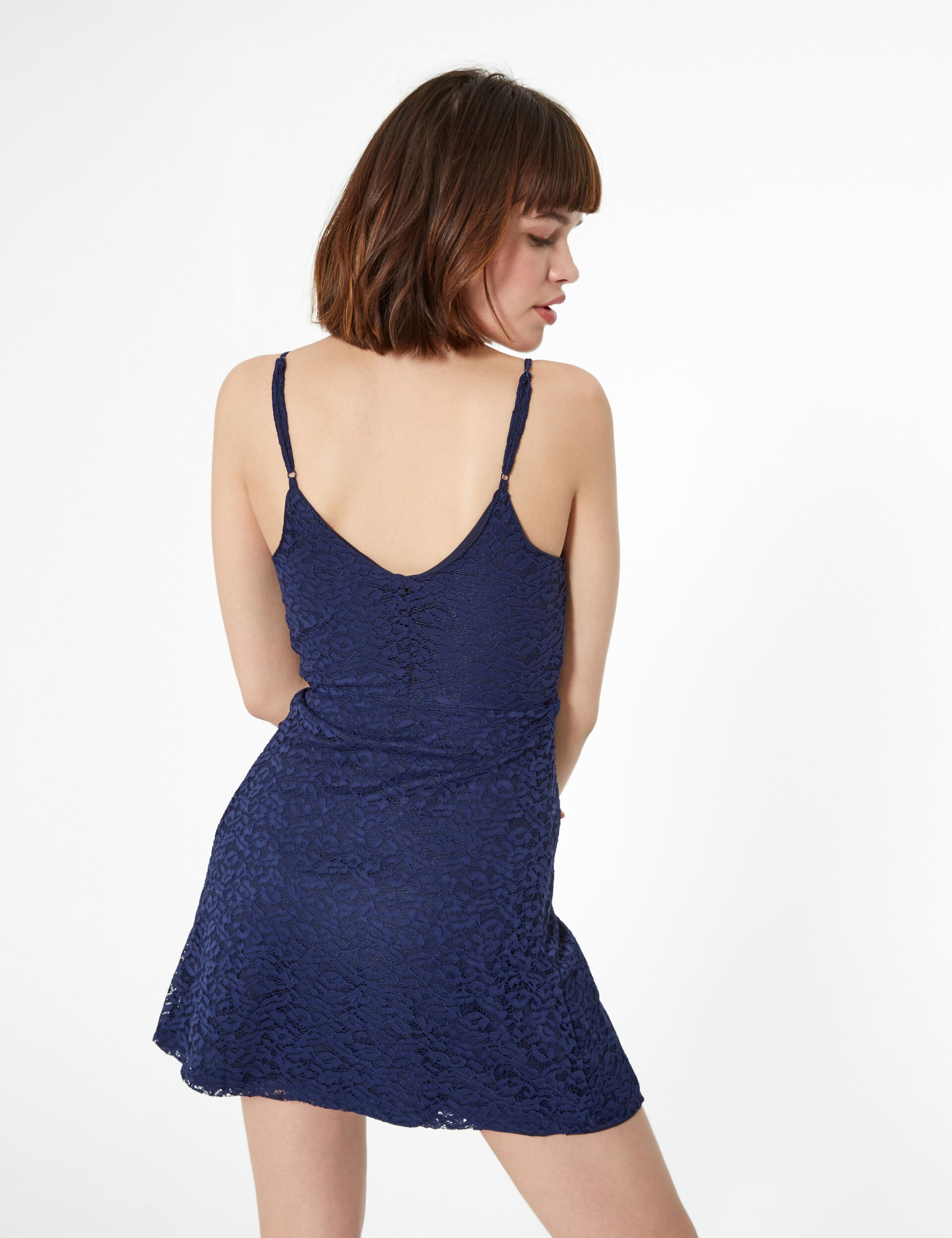 Navy blue lace dress with frill detail
