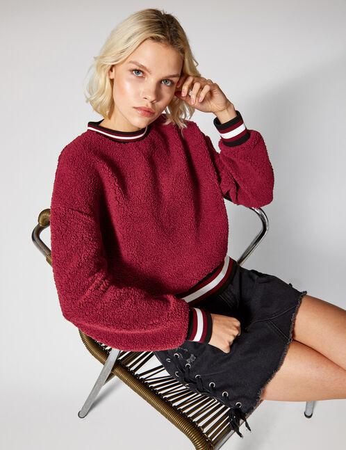 Burgundy faux fur sweatshirt
