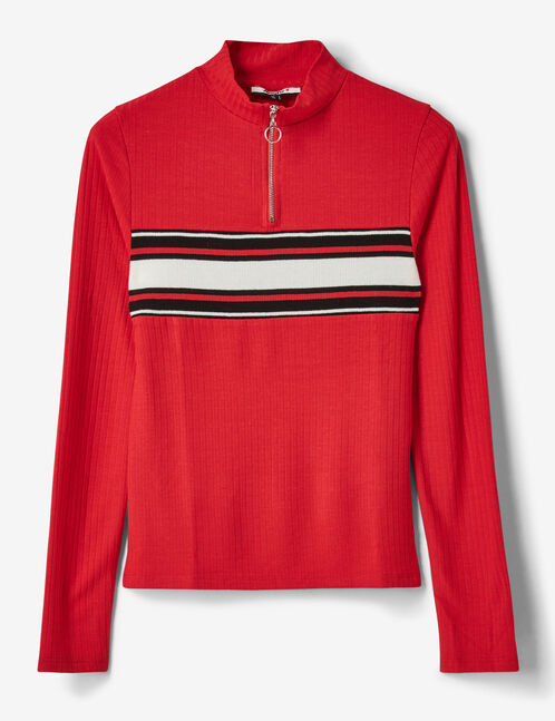 tee-shirt zippé rouge