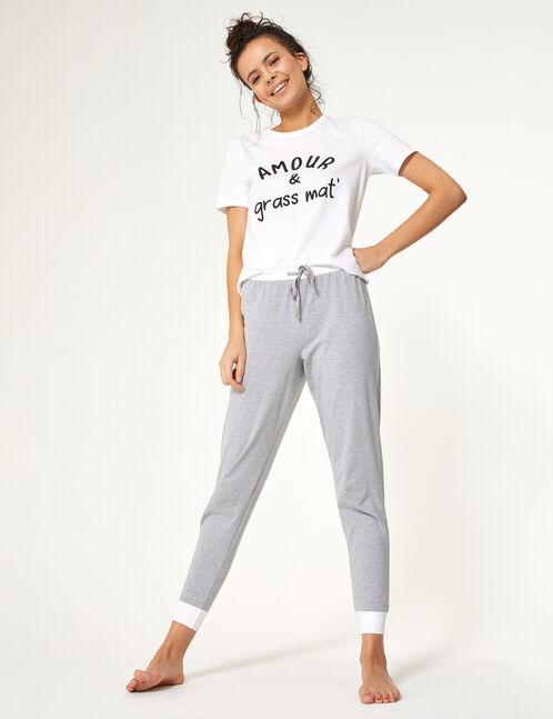 set pyjama à message blanc, gris et noir