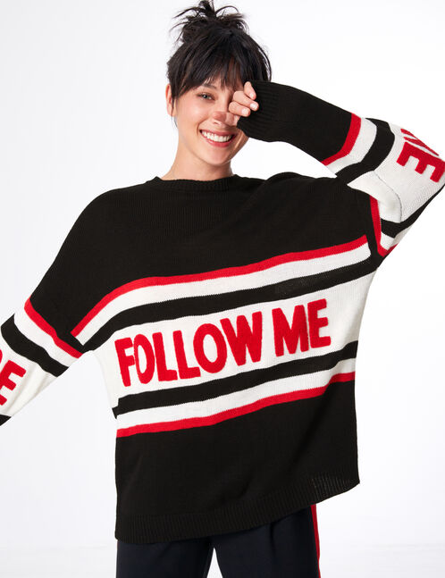pull follow me noir, blanc et rouge