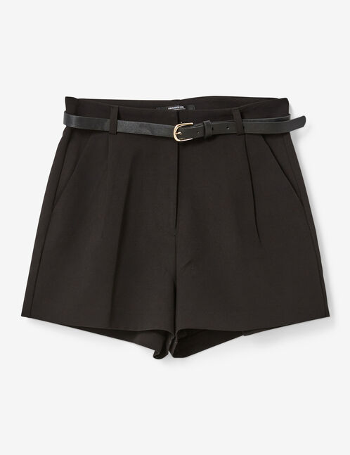 Black tailored shorts with belt detail