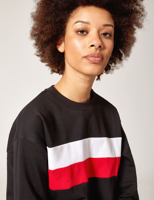 Black, white and red sweatshirt with trim detail
