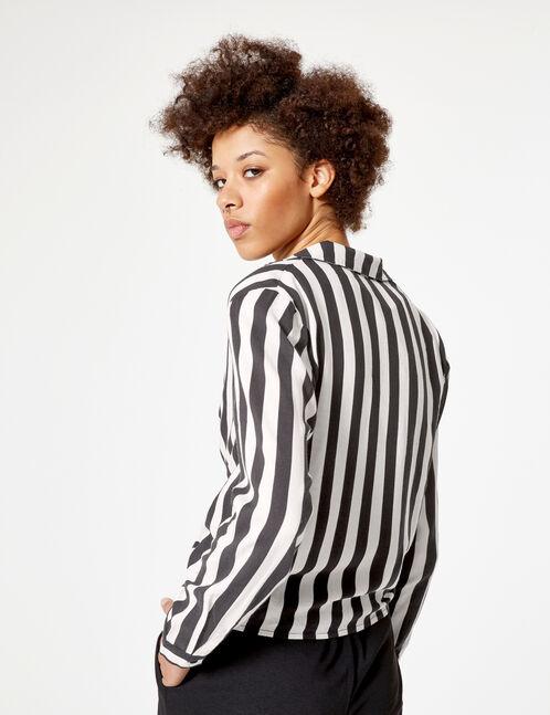 Black and white striped tie-fastening shirt
