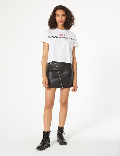 tee-shirt imprimé et damier