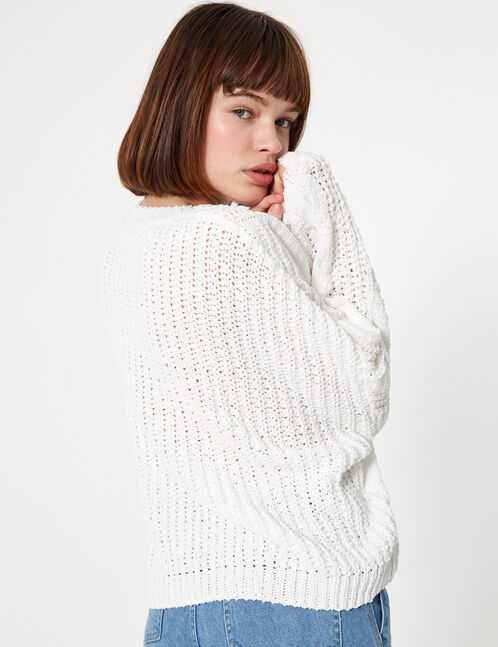pull chenille ajourée blanc