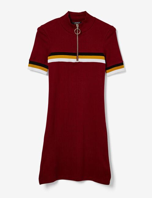 Burgundy, ochre, black and white sporty dress