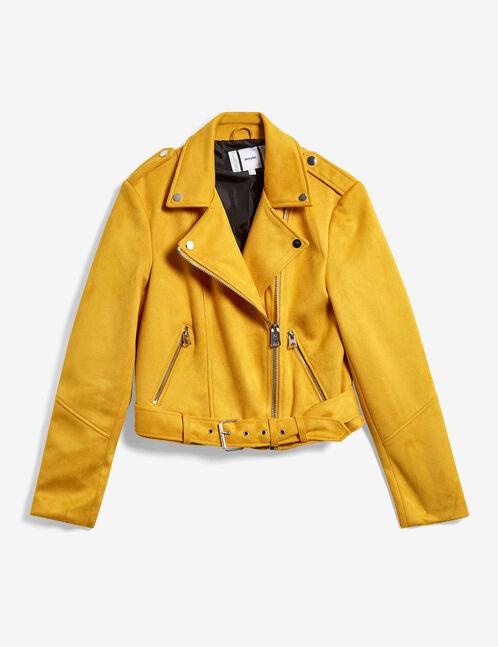 Ochre faux suede biker jacket