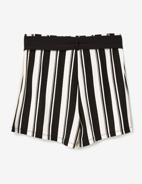 White and black striped skort