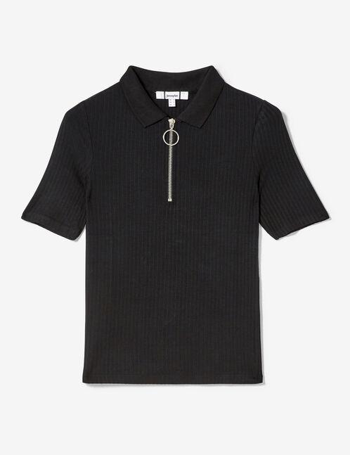tee-shirt polo zippé noir