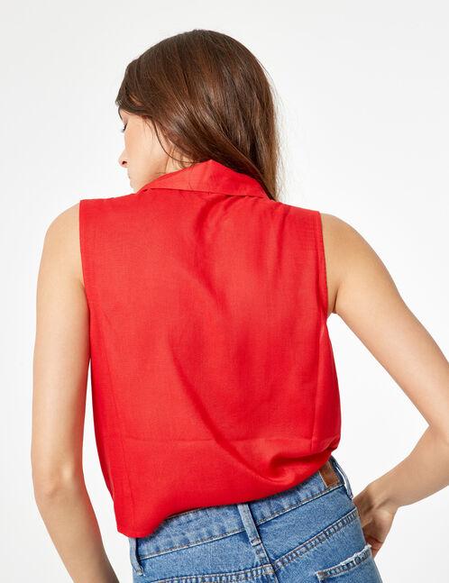 chemise sans manches à nouer rouge