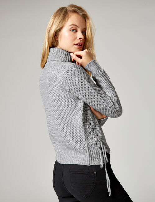 Grey marl textured jumper with lacing detail
