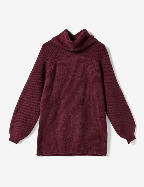 pull long col roulé prune