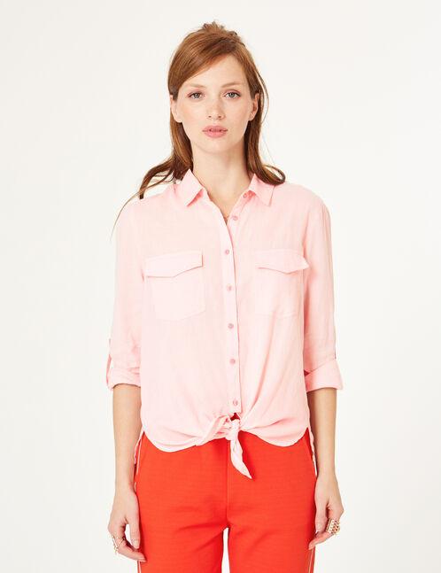 chemise à nouer rose clair