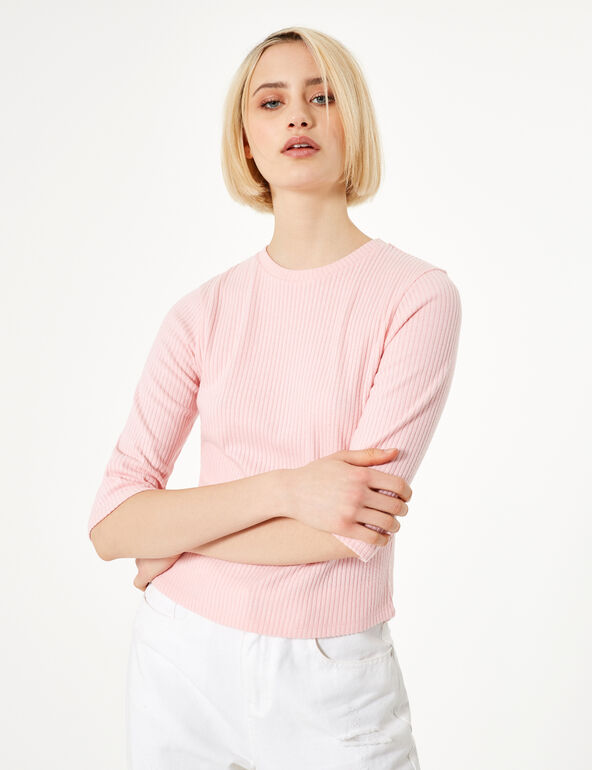 Neon pink rib-knit top