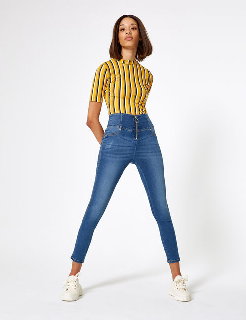 jean taille haute zippé medium blue