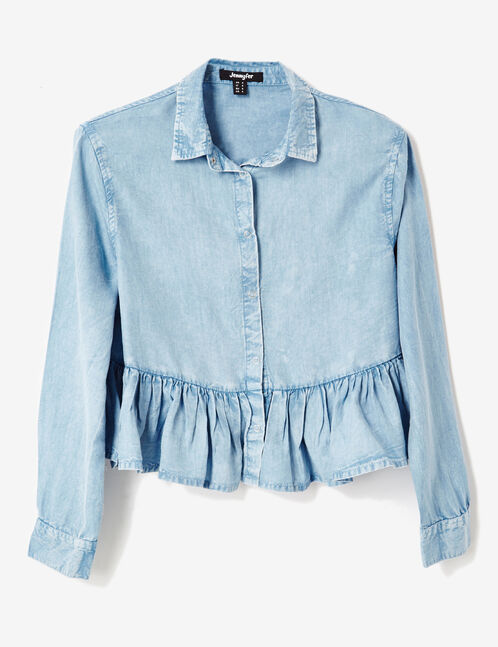 Cropped light blue shirt with frill detail