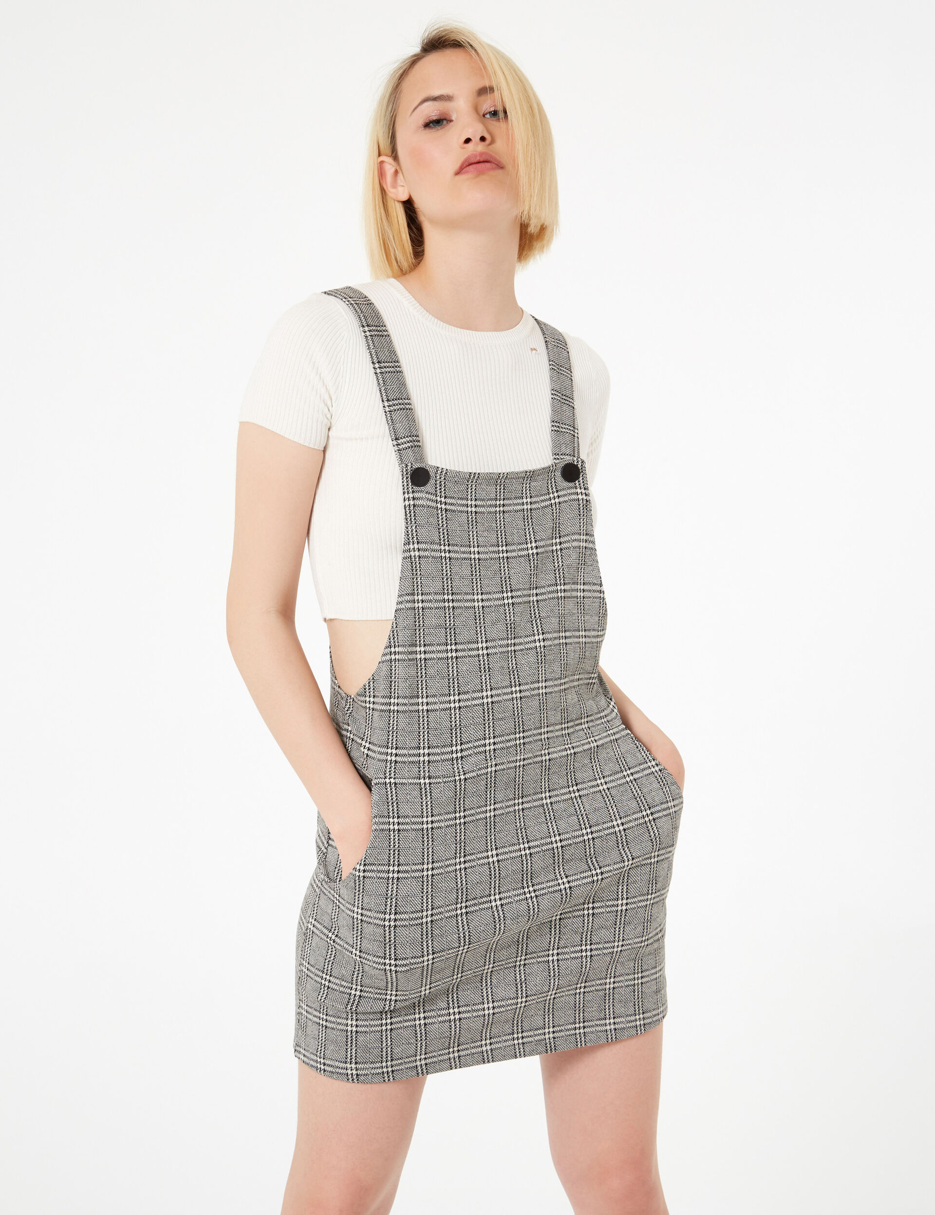 Black and cream checked dungaree dress