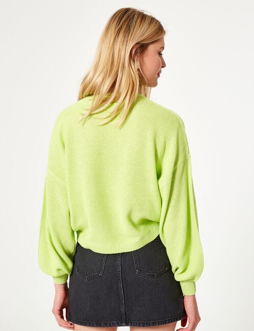 pull loose texturé vert fluo