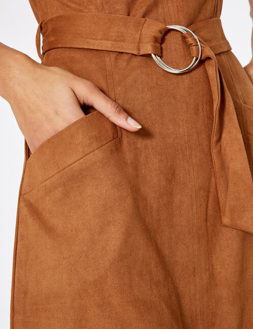 Camel faux suede dress with belt