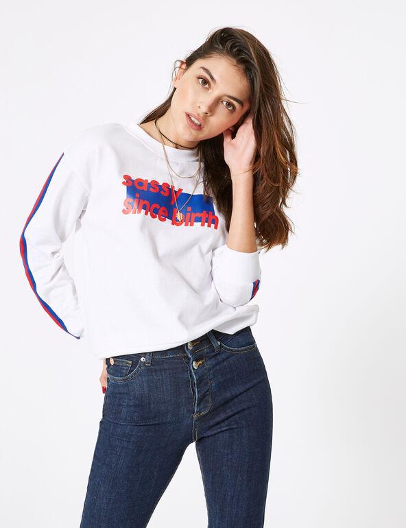 White sweatshirt with text design detail