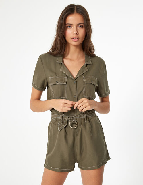 Khaki shirt with text design trim detail