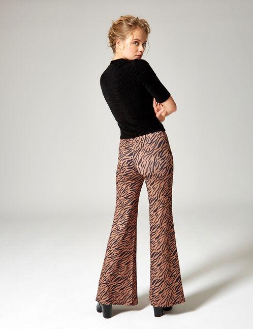 pantalon imprimé zébré camel et noir