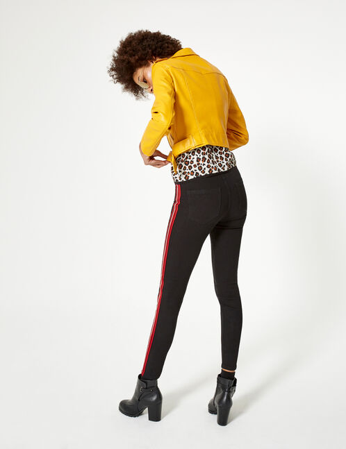 Black, red and white jeggings with striped trim detail