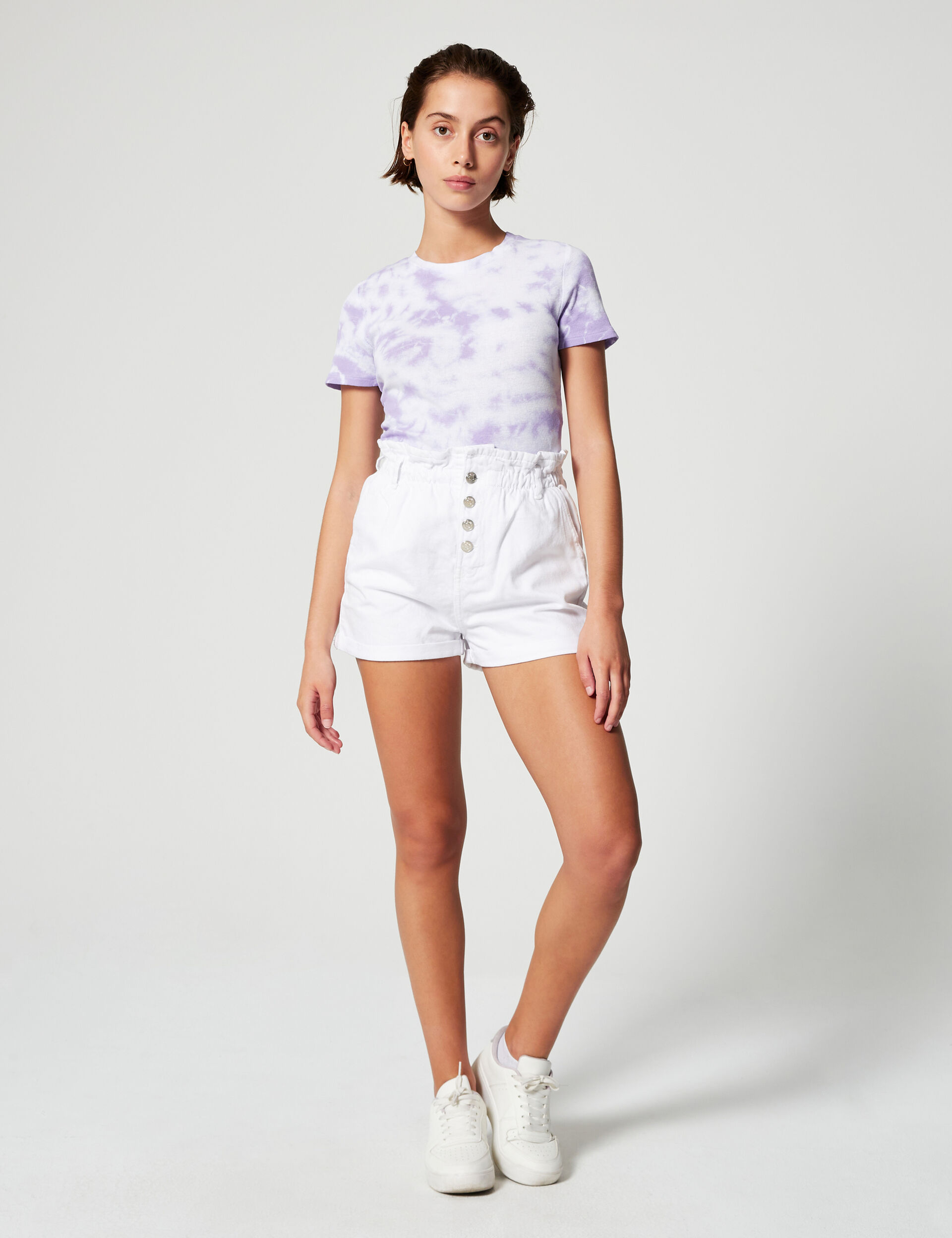 Short en jean avec fronces