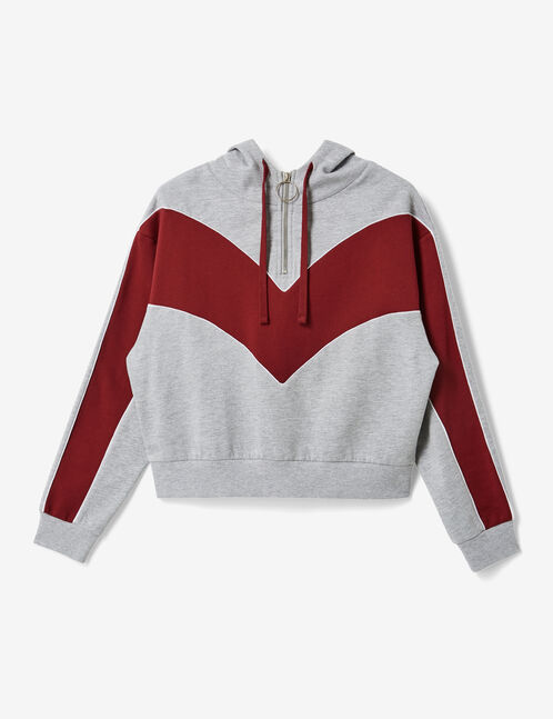 sweat chevron zippé gris chiné et bordeaux