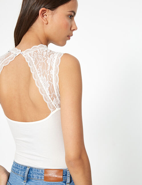 Cream bodysuit with lace detail