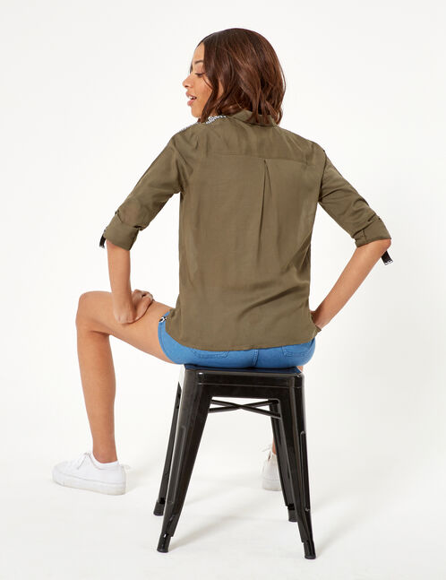 Khaki shirt with text design trim detail