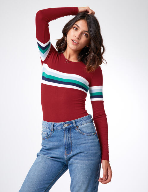 Burgundy top with stripe detail