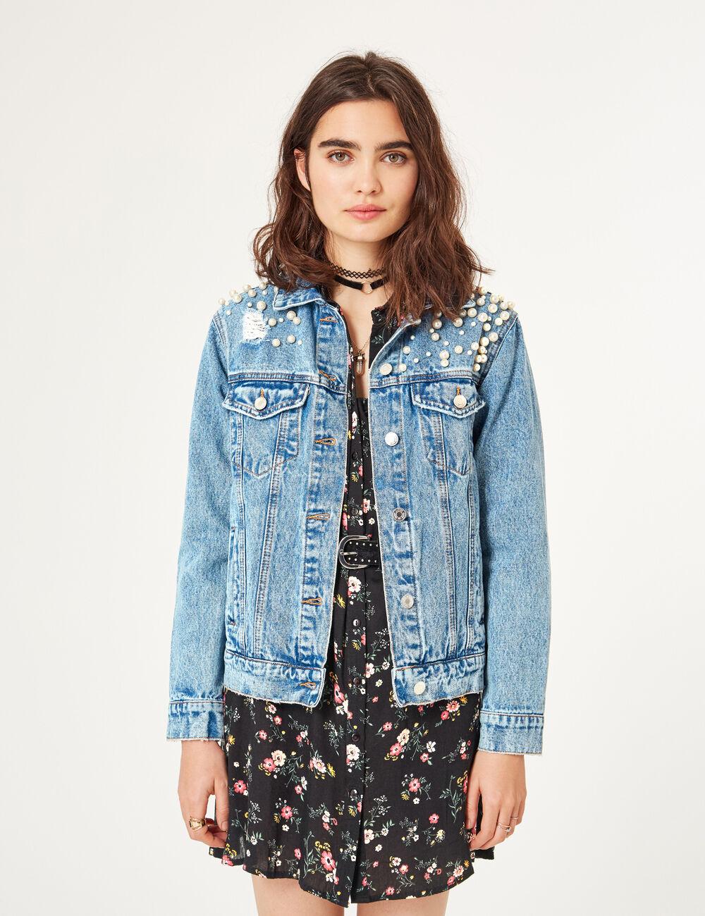 Veste en jean longue clair femme