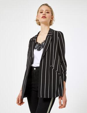 Product Veste blazer femme, noir, rayures écrues, 2 poches, manches 3/4 froncées. Photos retouchéesMarque Jennyfer Catégorie vestes + manteaux