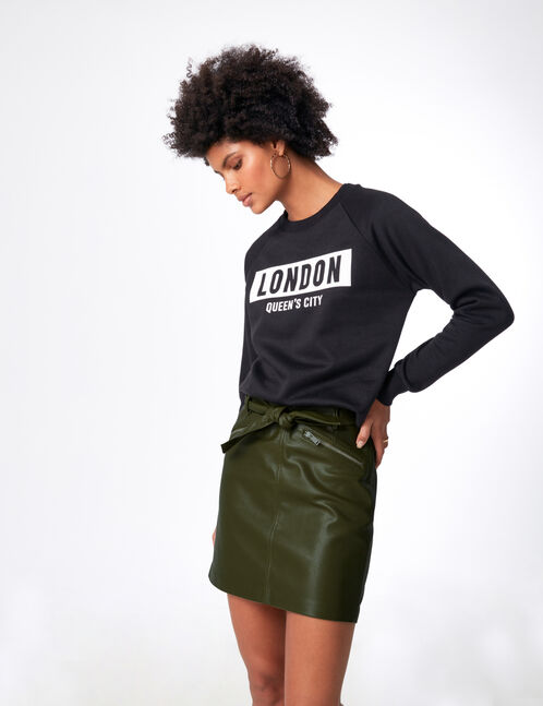 Khaki faux leather skirt with belt