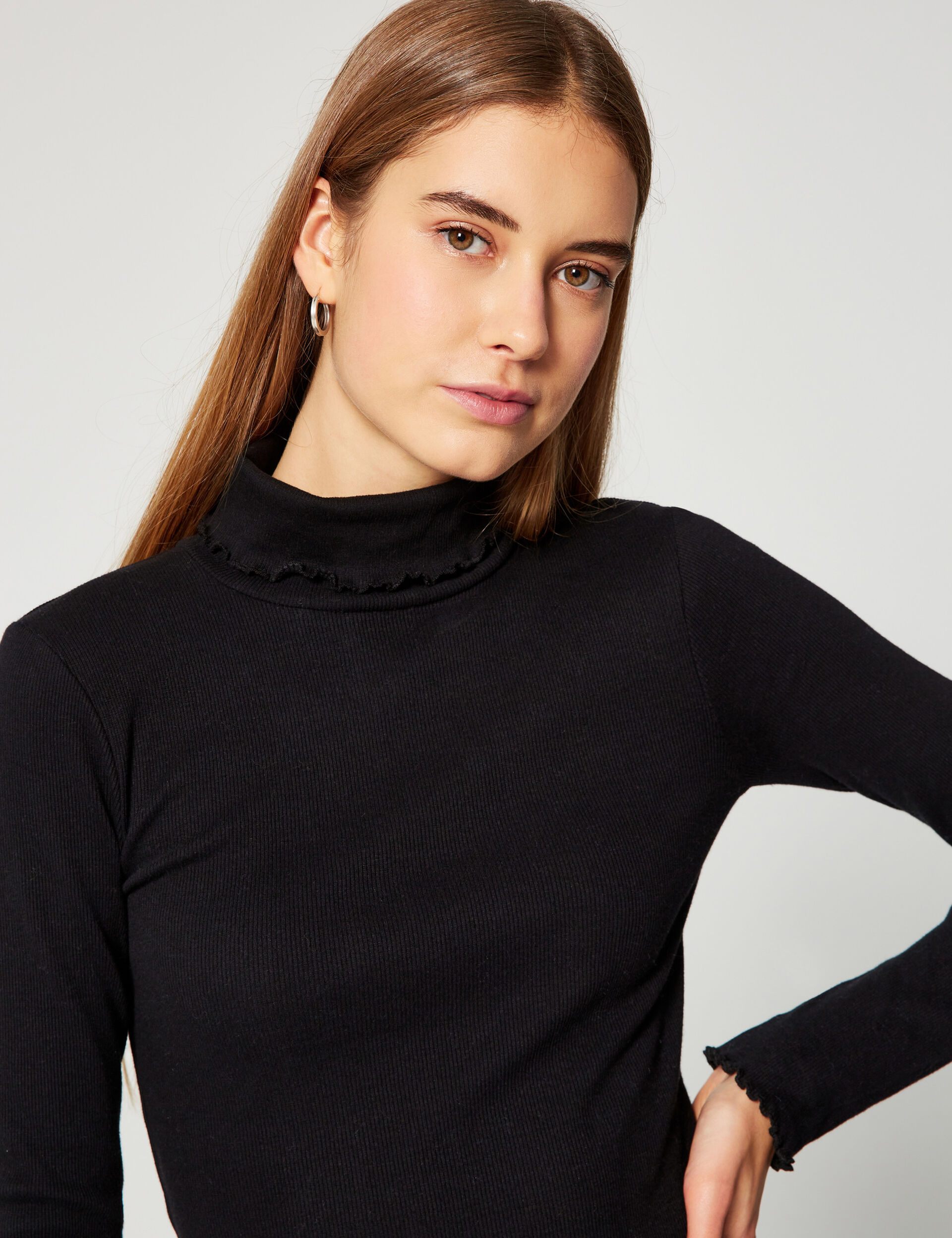 Ribbed roll-neck top