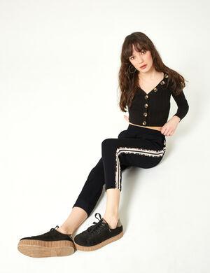 pantalon rayures côtés noir et léopard