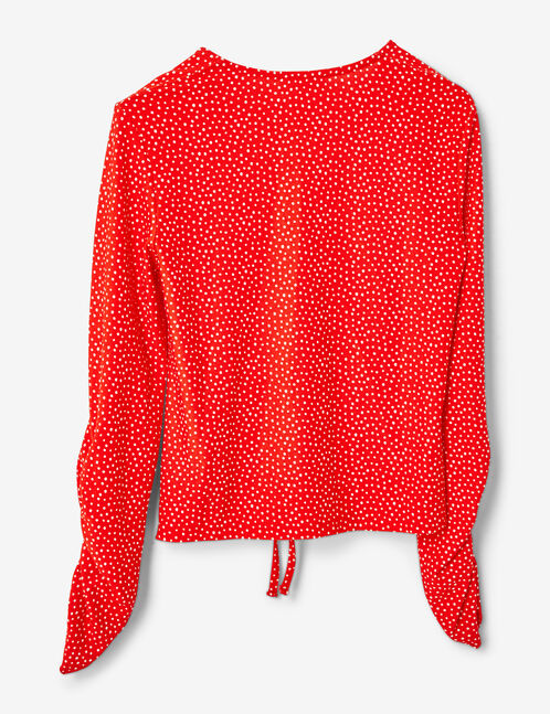 Red and white polka-dot t-shirt with ruched detail
