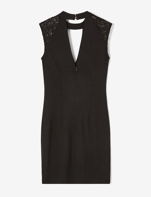Black deep V-neck dress