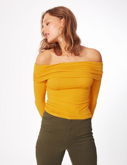 Ochre off-the-shoulder top