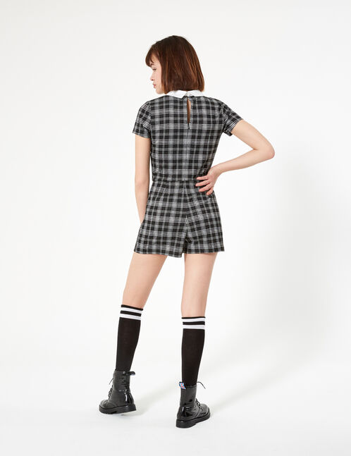 Black and white checked playsuit