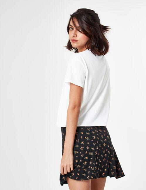 jupe boutonnée évasée noire