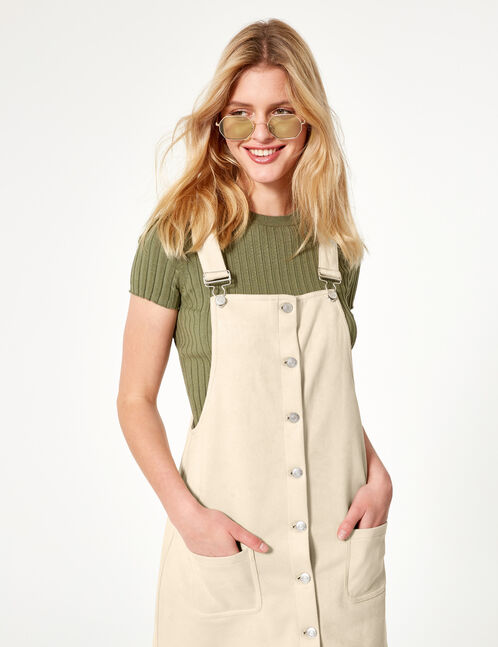 Beige faux suede dungaree dress