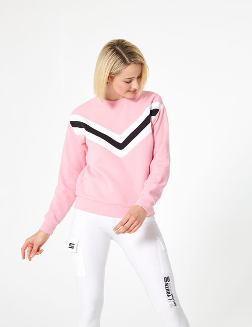 Pink, black and white sweatshirt with chevron detail