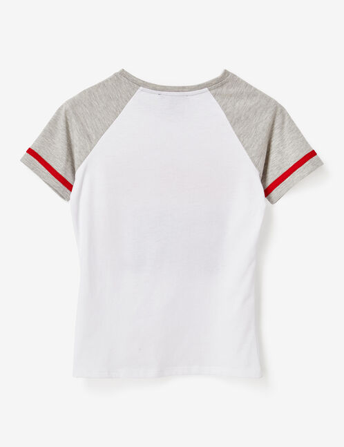 White and grey marl two-tone T-shirt with text design detail