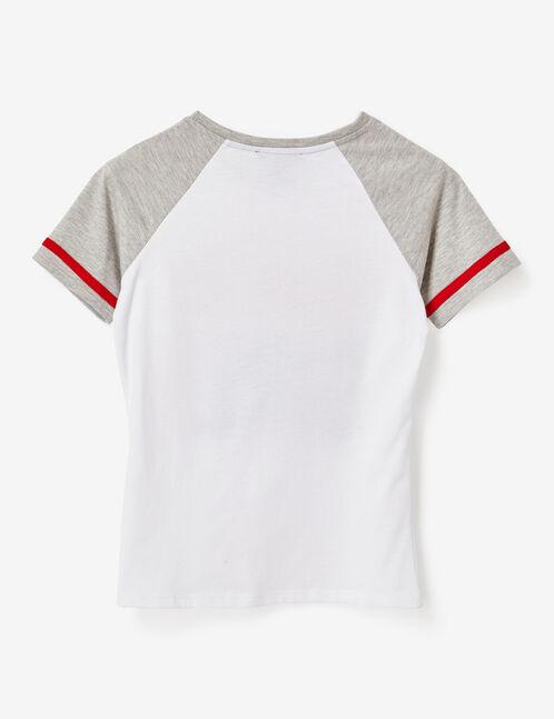 tee-shirt bicolore à message blanc et gris chiné