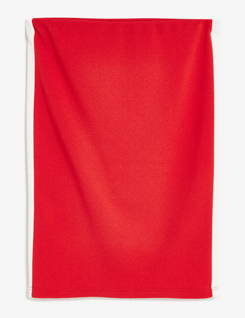 Red textured tube skirt