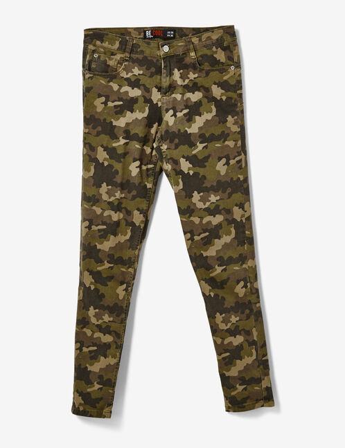 pantalon skinny camouflage kaki