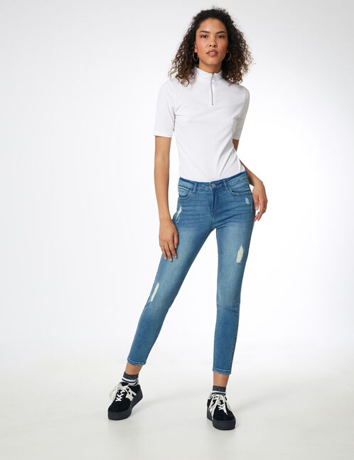 jean skinny destroy bleu clair